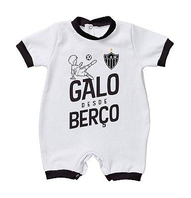 """Macacão Bebê Atlético MG """"Galo Desde Berço"""" - Torcida Baby"""