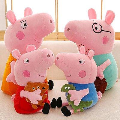 Kit Pelúcia Família Peppa Pig Com 4 Personagens 28Cm