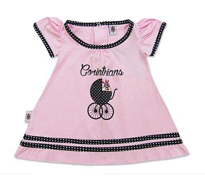 Vestido Bebê Corinthians Rosa Carrinho Oficial