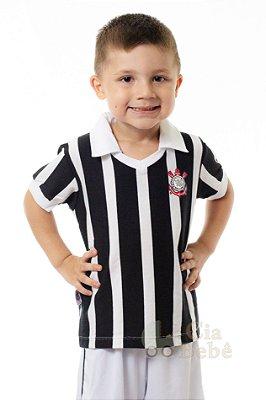 Camisa Bebê Corinthians Preta Retrô Oficial