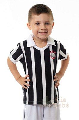 Camisa Infantil Corinthians Preta Retrô Oficial