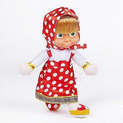 Boneca Pelúcia Masha Vermelha Bolinhas 26cm