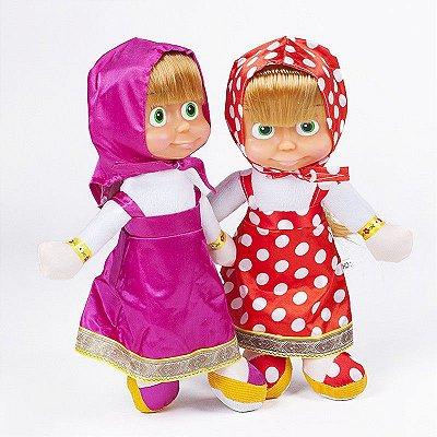 Kit 2 Bonecas Marsha Pelúcia Rosa e Vermelha 26cm