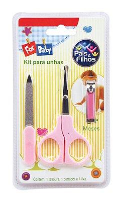 Kit Unha Bebê 3 Peças Pais e Filhos Rosa