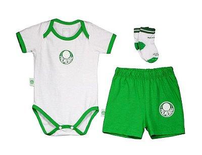 Kit Bebê Palmeiras Body Shorts e Meia Oficial