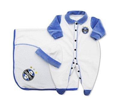 Kit Bebê Grêmio Macacão Manta e Gorro Plush Branco Oficial