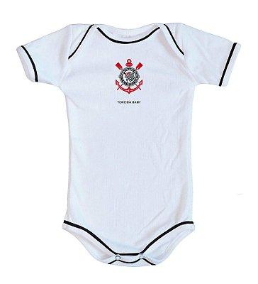 Body Bebê Corinthians Oficial Branco - Torcida Baby