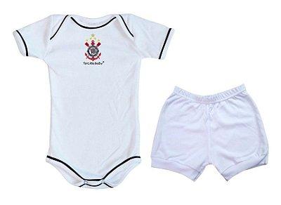 Conjunto Corinthians Body e Shorts Branco Torcida Baby