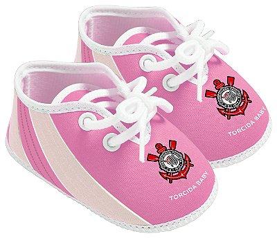 Chuteira Bebê Corinthians Rosa Oficial - Torcida Baby