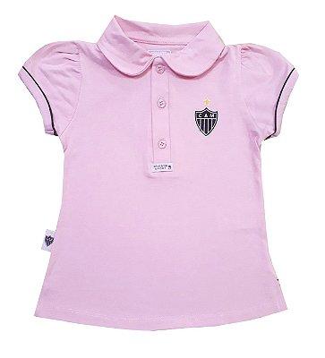 Camisa Polo Infantil Atlético MG Rosa Oficial