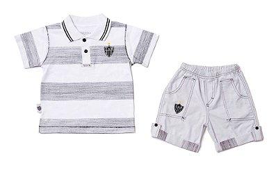 Conjunto Atlético MG Infantil Polo e Bermuda Oficial