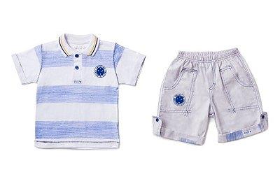 Conjunto Cruzeiro Infantil Polo e Bermuda Oficial