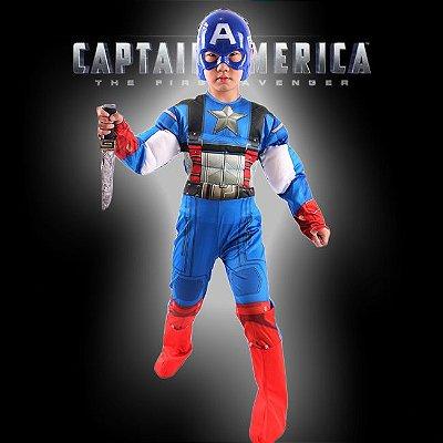 Fantasia Capitão América Infantil Com Máscara