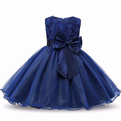 Vestido Infantil Festa Casamento Batizado Azul Brilho