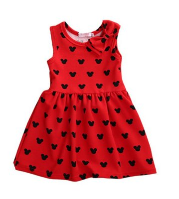 Vestido Infantil Minnie Lacinho Vermelho/Preto