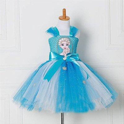 Vestido Infantil Elsa Frozen Tutu Tule