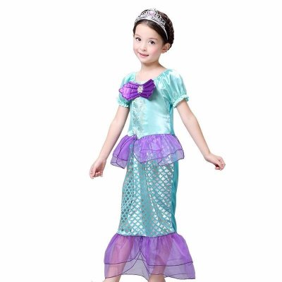 Fantasia Infantil Pequena Sereia Princesa Ariel Laço