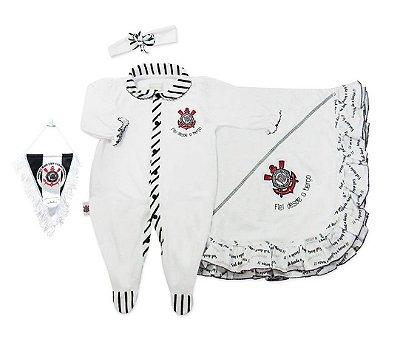 Kit Maternidade Corinthians com Manta e Tiara Oficial