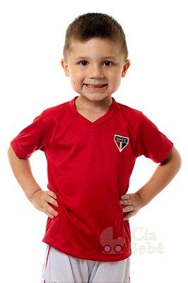 Camiseta Infantil São Paulo Vermelha Gola V Oficial
