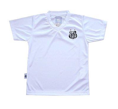 Camiseta Infantil Santos Branca Gola V Oficial