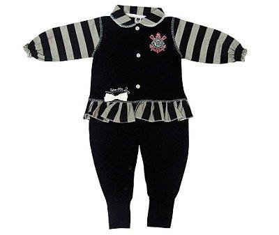 Macacão Bebê Corinthians Longo Listras Feminino Oficial