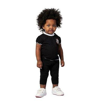 Baby Look Bebê Corinthians Preta Feminina Oficial