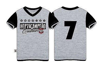 Camiseta Infantil Corinthians Hepta Cinza Oficial