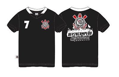 8c9a9059b3e2c Camiseta Infantil Corinthians Hepta Campeão Preta Oficial