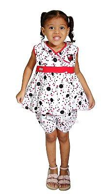 Vestido Flamengo Infantil com Shorts e Tiara Oficial