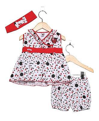 Vestido Flamengo Bebê com Shorts e Tiara Oficial