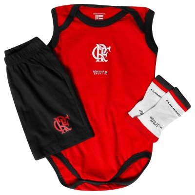Kit Bebê Flamengo Body Shorts e Meia Infantil Oficial