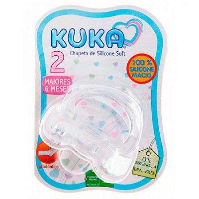 Chupeta Kuka 100% Silicone Soft Orto Fase 2 Branca  (+6meses)