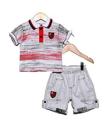 Conjunto Flamengo Infantil Polo e Bermuda Oficial