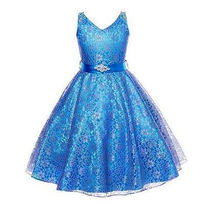 Vestido Infantil Festa Casamento Florista Azul