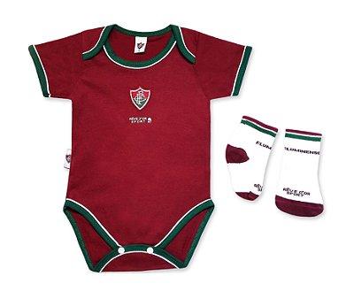 Kit Bebê Fluminense Com Body e Meia Oficial