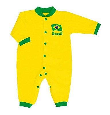 Macacão Bebê Brasil Longo Malha - Torcida Baby