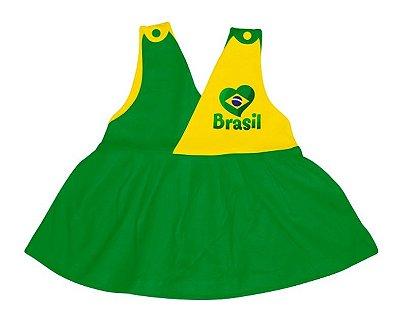 Vestido Bebê Brasil Decote V - Torcida Baby