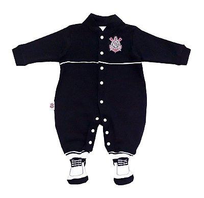 Macacão Bebê Corinthians Longo Chuteira Oficial