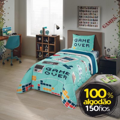 Edredom Infantil Game Over 1,50m x 2,20m - Lepper