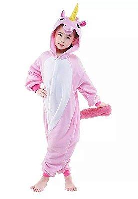Macacão Pijama Infantil Unicórnio Rosa