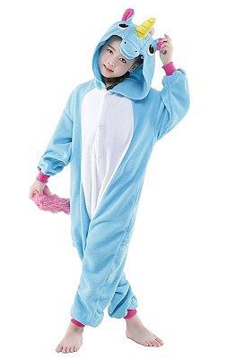 Macacão Pijama Infantil Unicórnio Azul