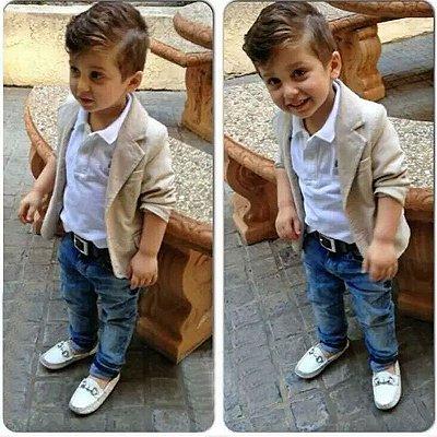 Conjunto Infantil Social Casaco Camisa e Calça Jeans