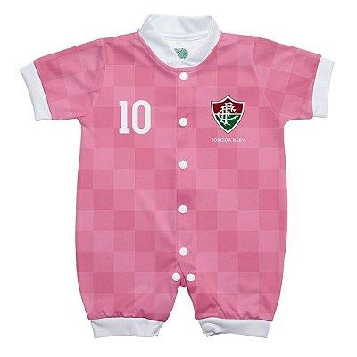 Macacão Bebê Fluminense Curto Rosa - Torcida Baby