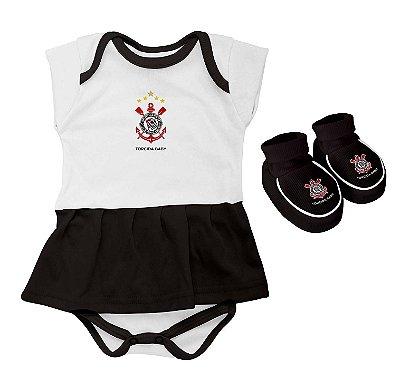 Kit Bebê Corinthians Body Saia e Pantufa Torcida Baby