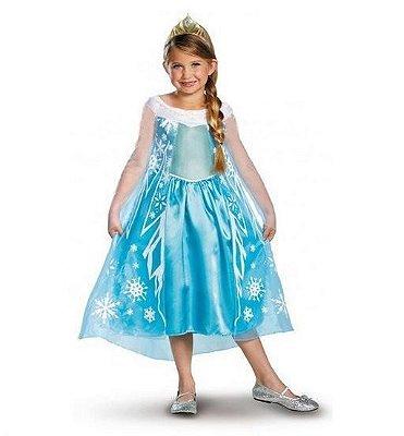 Vestido Fantasia Infantil Elsa Frozen