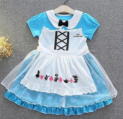 Vestido Fantasia Infantil Alice No País Das Maravilhas