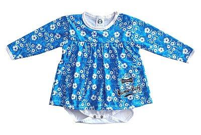 Body Vestido Grêmio Baby Floral Longo Oficial