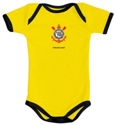 Body Corinthians Amarelo Torcida Baby