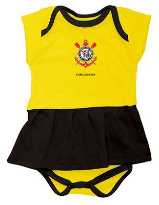 Body Vestido Corinthians Amarelo Torcida Baby