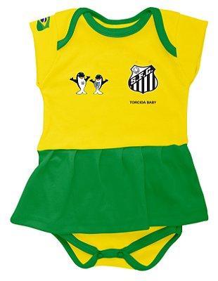 Body Vestido Santos Amarelo Torcida Baby